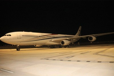 Swazi Observer photograph of King Mswati's A340-300 Airbus at King Mswati III International Airport in Swaziland.