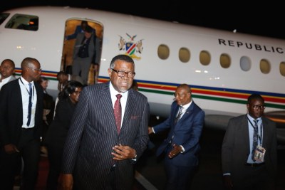 Namibian President Hage Geingob arrives in Luanda ahead of the SADC Double Troika Summit.