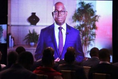 Safaricom CEO Bob Collymore addressing investors via video link during the company's full year investor briefing on May 9, 2018.