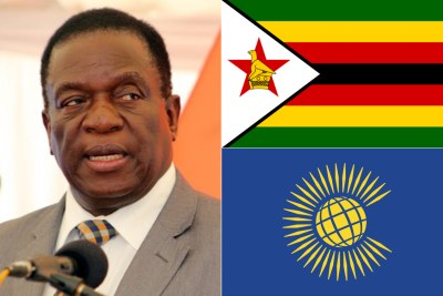 Left: Zimbabwean President Emmerson Mnangagwa. Top-right: Flag of Zimbabwe. Bottom-right: Flag of the Commonwealth of Nations.