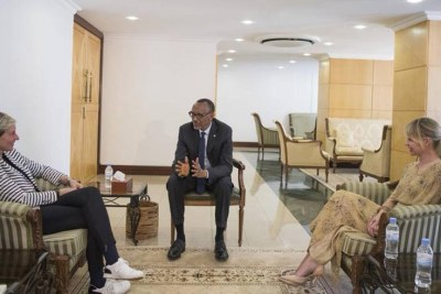 President Kagame meets with Ellen DeGeneres and Portia De Rossi who are on holiday in Rwanda and visited the site of the upcoming Ellen DeGeneres Campus of the Dian Fossey Gorilla Fund.