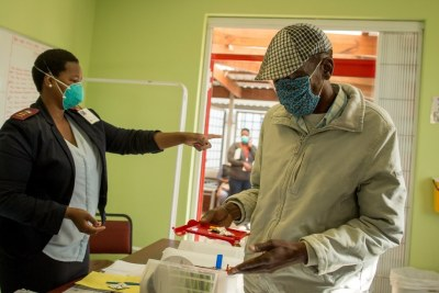 A South African  XDR-TB patient receiving his Bedaquiline and delamanid.
