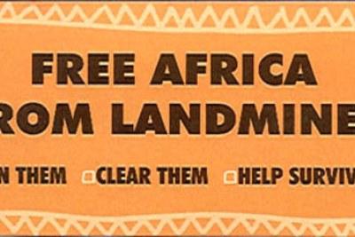 Plus de mines antipersonnelles en Afrique. Interdisez les, éliminez, et aidez les victimes peut on lire sur cette image.
