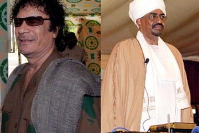 Muammar Al-Gathafi, Président du Libye avec le président du Soudan Omar Hassan Al-Bashir.