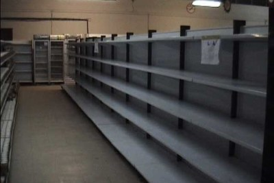 Empty store shelves in 2008 (file photo).