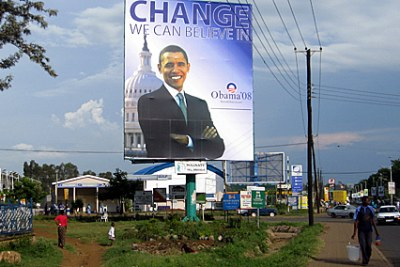 A giant billboard of President Barack Obama on Nairobi Road, Kisumu, at the time of his election as President.
