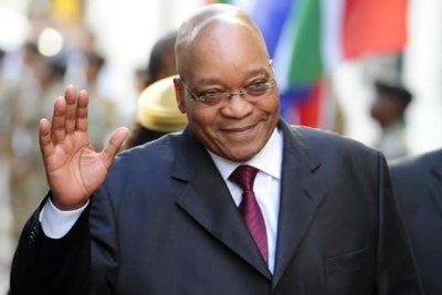 President Jacob Zuma arrives at South Africa's parliament for the 2010 State of the Nation Address.
