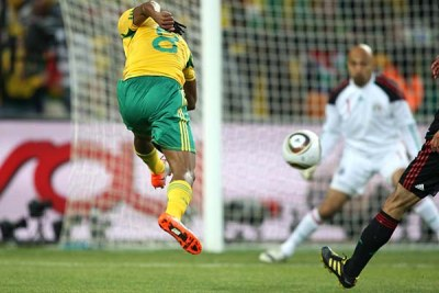 South Africa's Siphiwe Tshabalala scores his side's goal.