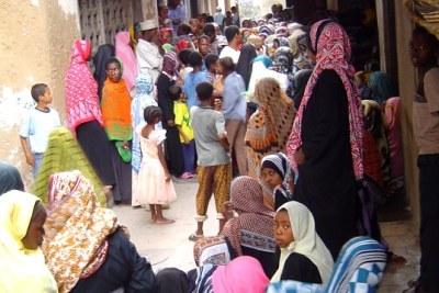 A crowded street in Zanzibar's capital, Stone Town.