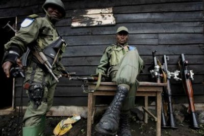 Soldiers of the Congolese national army at a military base 12km north of Goma, November 2008.