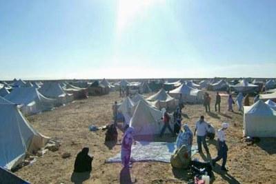 Des Saharawis sous des tentes dans le désert