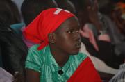 A southern Sudanese girl attends a service at Nairobi Baptist...
