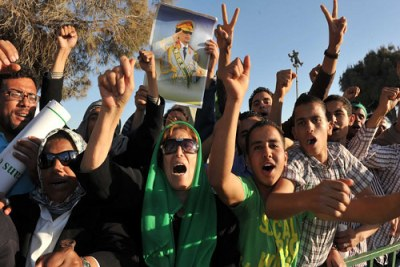 Des manifestants pro-Khaddafi