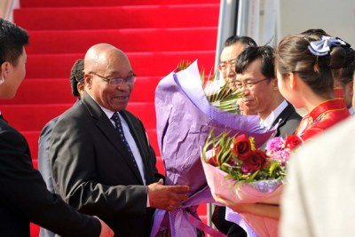 President Jacob Zuma arrives in China for the Brics Summit...