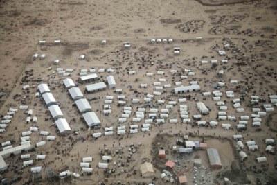 Transit centre of a refugee camp