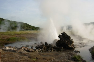 A geothermal energy source in Kenya.