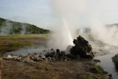 A geothermal energy source in Kenya.