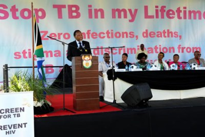 Deputy President Kgalema Motlanthe addressed World TB Commemoration Day held at Gold Fields KDC West Mine in Carltonville, Gauteng.