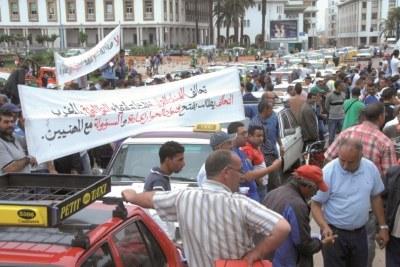Manifestation des transporteurs à Casablanca.