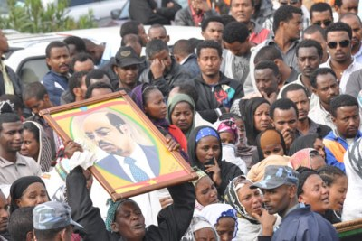 Ethiopians mourn the death of the late Prime Minister Meles Zenawi.