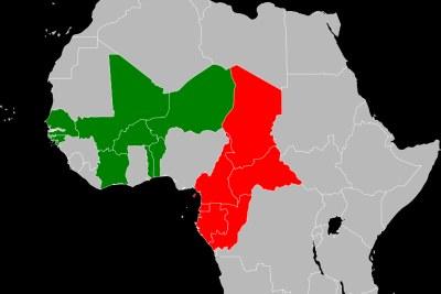 Les pays utilisant le CFA en Afrique de l'Ouesten vert et  les pays utilisant le CFA en Afrique Centrale en rouge