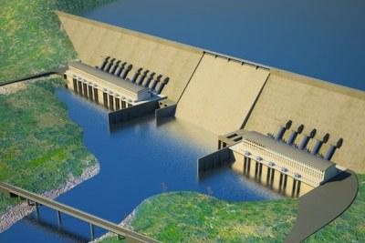 Artist's impression of Renaissance Dam project .