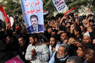 Supporters of Egyptian President Mohamed Morsi gather outside the Supreme Constitutional Court during a protest in Cairo (file photo).
