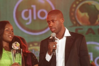 Yaya Toure of Cote d'Ivoire accepting the African Player of the Year 2012 in Ghana.