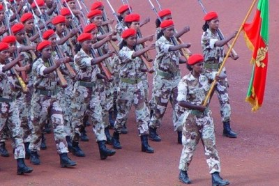 Eritrean soldiers on parade.