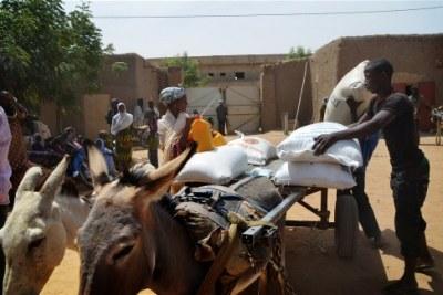 ICRC's food aid distribution.