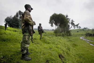 Des soldats congolais au Nord-Kivu le long de la frontière avec le Rwanda