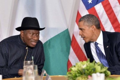 President Goodluck Jonathan discussing with US President Barack Obama during their bilateral meeting in New York (file photo).