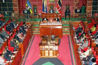 President Uhuru Kenyatta addressing the East Africa Legislative Assembly (file photo).
