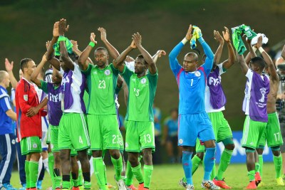 Nigeria's Super Eagles celebrate a win at the last World Cup in Brazil. They are one of five African teams in Russia next year, the others being Senegal, Egypt, Morocco and Tunisia.