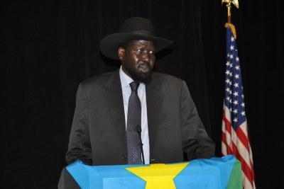 President Salva Kiir addresses the South Sudanese community in Washington, DC.