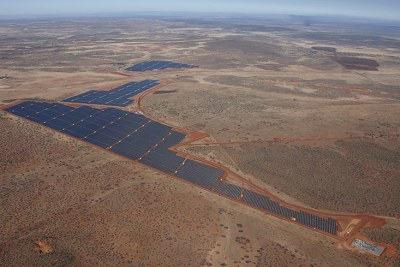 The new 96 megawatt photovoltaic solar power project in South Africa's Northern Cape province.