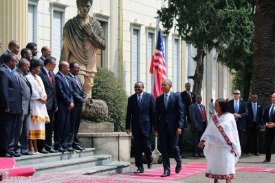 This morning, President Obama and Ethiopian Prime Minister Hailemariam were welcomed by senior officials at the National Palace.