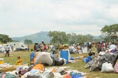 Les expulsés dans leur nouveau site d'accueil aménagé à Maluku dans la périphérie Est de Kinshasa (archive)