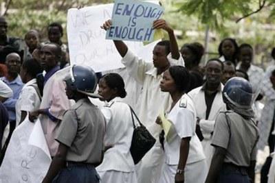 Striking nurses in Zimbabwe (file photo).