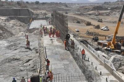 Construction of GERD Dam.