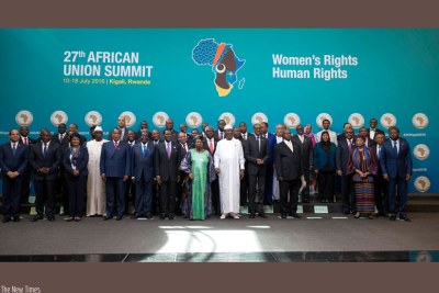 African Union Head of State and Government and Union officials in a group photo at the opening of the 27th Ordinary Session of the AU Assembly in Kigali.