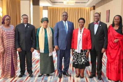 Les présidents Macky Sall (Sénégal) et Helène Johnson Sirleaf (Libéria) lors de la Réunion du Comité d'Orientation du NEPAD à Kigali, samedi 16 juillet à Kigali, Rwanda