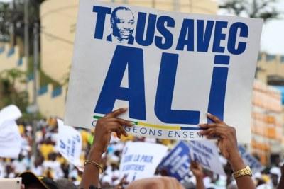 Pancarte pour soutenir le candidat Ali Bongo pour sa réelection
