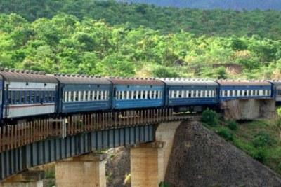 Tazara train crossing a bridge.