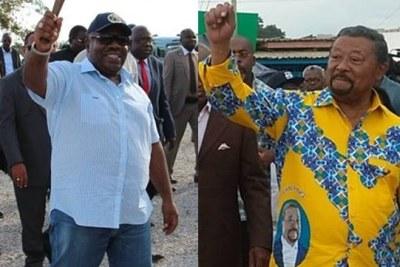 A gauche Ali bongo Ondimba actuel président du Gabon , à droite Jean Ping Candidat aux présidentielles