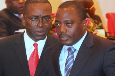 Right to left  President Joseph Kabila Kabange and Prime Minister Matata Ponyo Mapon.