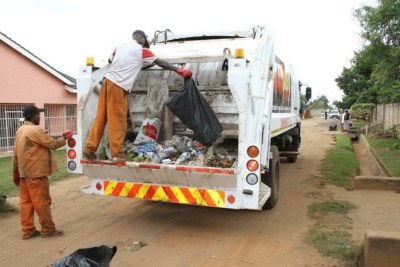 Harare City Council workers collecting garbage in residential areas (file photo).