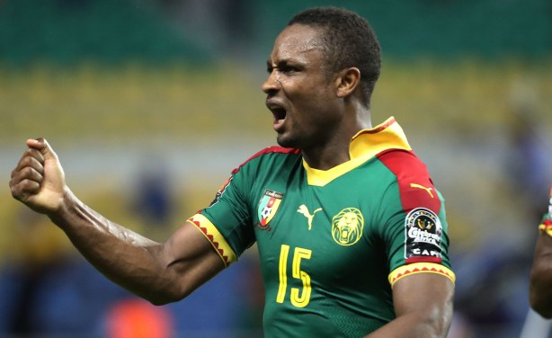 Sébastien Siani of Cameroon celebrates one of the goals that saw his side overcome Guinea-Bissau. Twitter: @kvoostende
