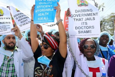 Doctors from private hospitals protest in Kisumu on February 14, 2017.
