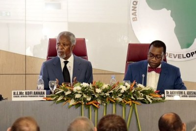 """Lights, Power, Action"": AfDB's Adesina and Kofi Annan urge governments to close Africa's energy deficit on Monday, March 13, 2017 in Abidjan, at the launch of the Africa Progress Panel Report on ""Lights, Power, Action: Electrifying Africa"
